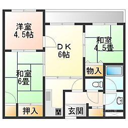 滋賀県甲賀市水口町神明の賃貸マンションの間取り