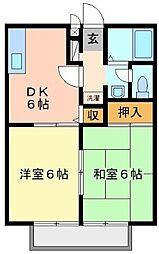 広島県福山市南本庄2の賃貸アパートの間取り