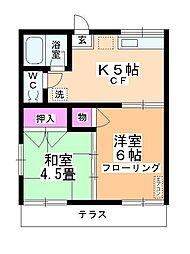 岸田荘[101号室]の間取り