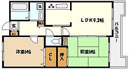 ヌーベル芦屋 3階2LDKの間取り