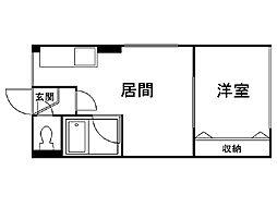 シティハイムエクセレントIII 2階1DKの間取り