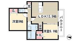 レクサスB[2-2号室]の間取り