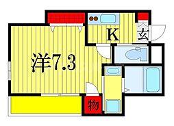 JR総武線 西船橋駅 徒歩5分の賃貸マンション 1階1Kの間取り