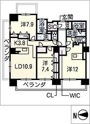 ロイヤルパークスERささしま(西棟)[9階]の間取り
