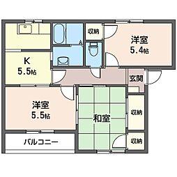 エスポワール E[1階]の間取り