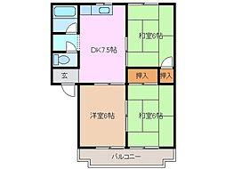 三重県四日市市赤水町の賃貸マンションの間取り