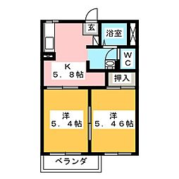 ハンプデンコート2A[2階]の間取り