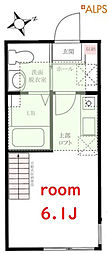 JR京浜東北・根岸線 石川町駅 徒歩17分の賃貸アパート 2階ワンルームの間取り