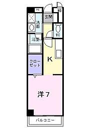 南海高野線 金剛駅 徒歩7分の賃貸マンション 1階1Kの間取り