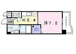 JR鹿児島本線 折尾駅 徒歩14分の賃貸マンション 2階1Kの間取り