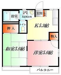 埼玉県熊谷市中央5丁目の賃貸アパートの間取り