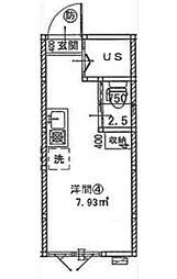 東京都新宿区南榎町の賃貸アパートの間取り
