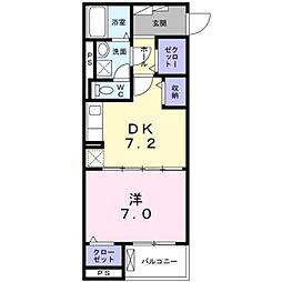 小田急小田原線 本厚木駅 徒歩8分の賃貸マンション 1階1DKの間取り