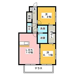 愛知県名古屋市天白区元植田3丁目の賃貸アパートの間取り