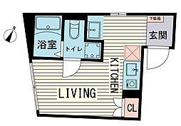 ブラン渋谷本町 3階ワンルームの間取り
