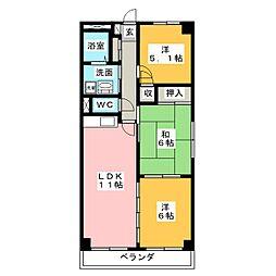 クレアージュ小田[4階]の間取り
