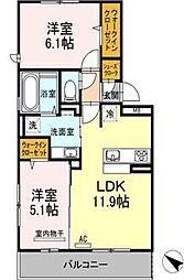 D-roomパークサイド吉塚[3階]の間取り