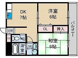 大阪府茨木市桑田町の賃貸マンションの間取り