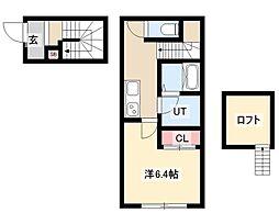 仮)CHIKUSA-SIX 2階1Kの間取り