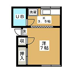 グリーンコーポ南桜川[2階]の間取り