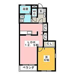 リバーサイドビラ生田II[1階]の間取り
