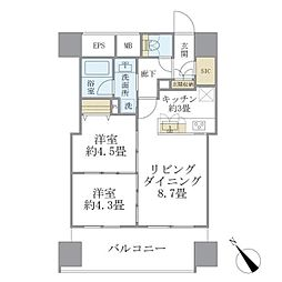 西武池袋線 東長崎駅 徒歩1分の賃貸マンション 10階2LDKの間取り