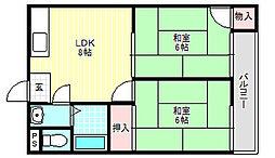 カトレヤマンション[5階]の間取り