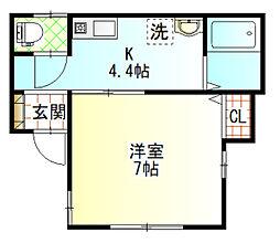 プチメゾン小田原駅 1階1Kの間取り