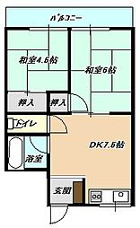 福岡県北九州市小倉北区三郎丸1丁目の賃貸マンションの間取り