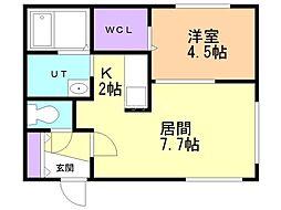 仮)澄川2-3B棟 2階1LDKの間取り