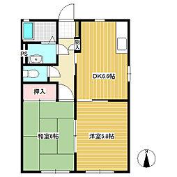長野県東御市田中の賃貸アパートの間取り