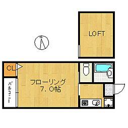 福岡県福岡市中央区春吉1の賃貸アパートの間取り