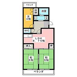 芦川ハイツ[3階]の間取り