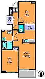 奈良県生駒市南田原町の賃貸アパートの間取り