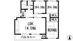 兵庫県宝塚市宝梅2丁目の賃貸マンションの間取り