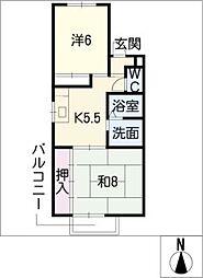 ハピネス II[1階]の間取り