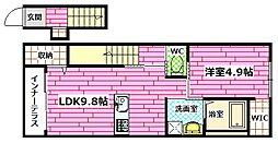 (仮)ユニヴァリィ大町東[2階]の間取り