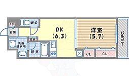 JR東海道・山陽本線 京都駅 徒歩13分の賃貸マンション 4階1DKの間取り