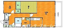 大阪府枚方市藤田町の賃貸マンションの間取り