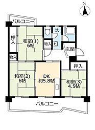 UR保津川 4階3DKの間取り