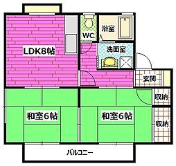 広島県安芸郡府中町柳ケ丘の賃貸アパートの間取り