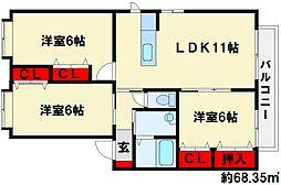 エコロジースクエア須玖南[B101号室]の間取り