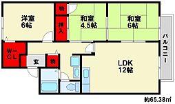 セジュール塚原[2階]の間取り