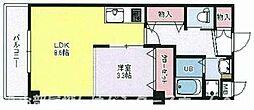 JR片町線(学研都市線) 星田駅 徒歩1分の賃貸マンション 4階1LDKの間取り