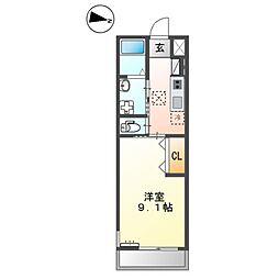 JR常磐線 牛久駅 徒歩4分の賃貸アパート 1階1Kの間取り