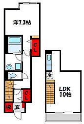 福岡県福津市西福間3丁目の賃貸アパートの間取り