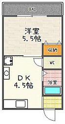 京都府京都市伏見区深草寺内町の賃貸アパートの間取り