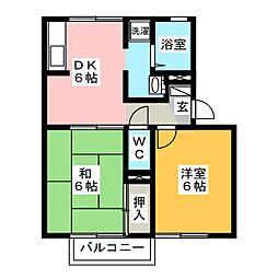 サウスガーデンBB B棟[2階]の間取り
