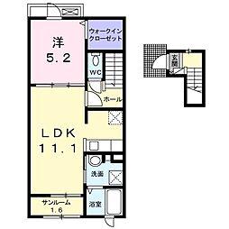 ラヴィアンローズ B[2階]の間取り