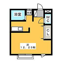 ヴィクトリーハイツ八斗島 2階ワンルームの間取り